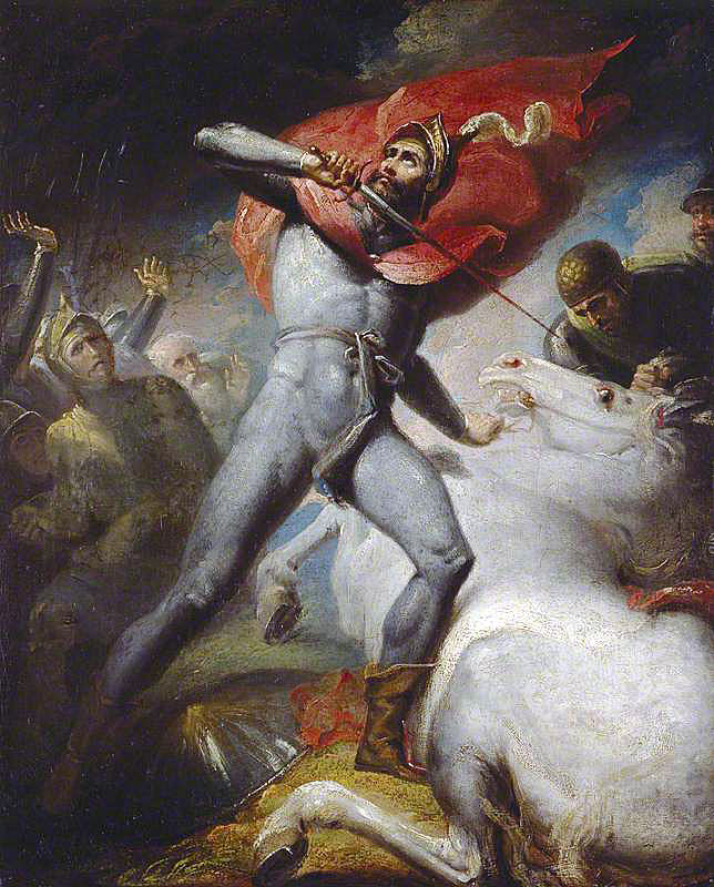 Allegorical picture of the Earl of Warwick slaying his horse before the Battle of Towton fought on 29th March 1461 in the Wars of the Roses: picture by Henry Tresham