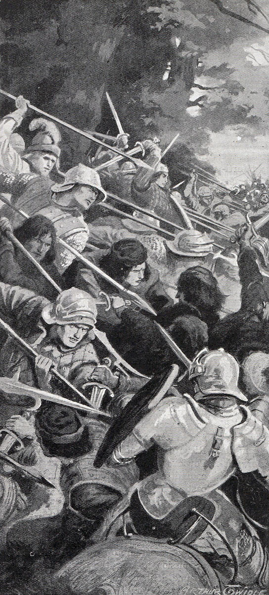Attack of Gloucester's Yorkist van at the Battle of Tewkesbury on 4th May 1471 in the Wars of the Roses