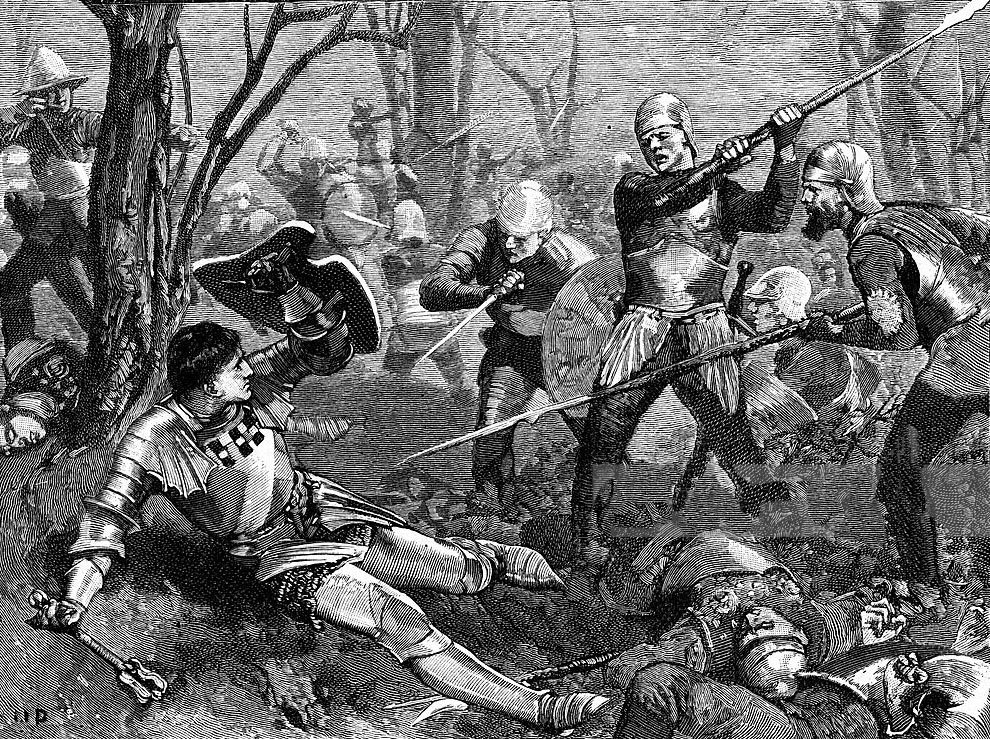 Death of the Earl of Warwick, 'Warwick the Kingmaker' at the Battle of Barnet on 14th April 1471 in the Wars of the Roses