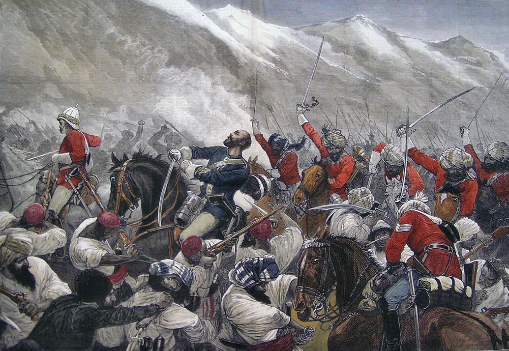 Death of Major Wigram Battye of the Queen's Own Corps of Guides at the Battle of Futtehabad on 2nd April 1879 in the Second Afghan War