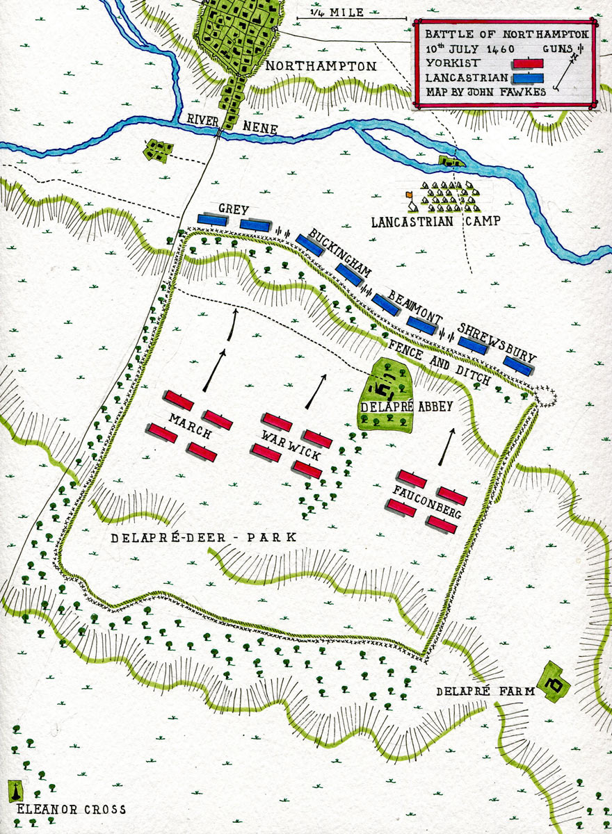 Map of the Battle of Northampton on 10th July 1460 in the Wars of the Roses: map by John Fawkes