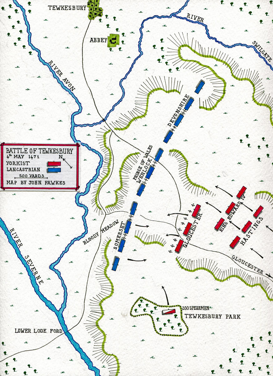 Map of the Battle of Tewkesbury on 4th May 1471 in the Wars of the Roses: map by John Fawkes