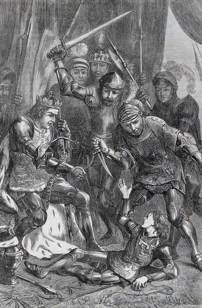 Murder of Edward, Prince of Wales, after the Battle of Tewkesbury on 4th May 1471 in the Wars of the Roses