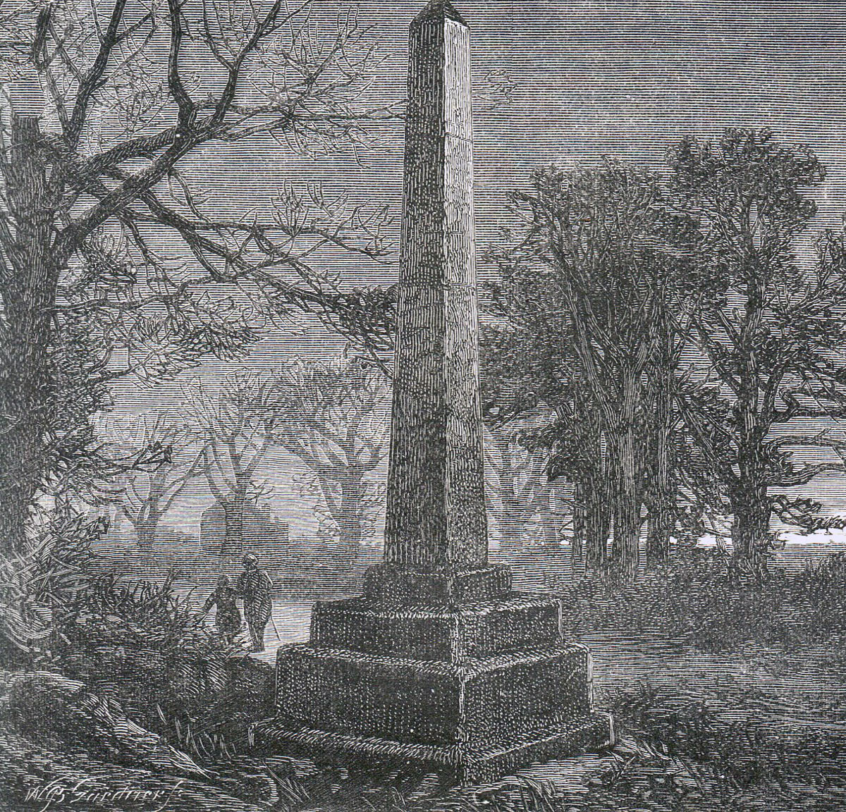 Obelisk commemorating the Battle of Barnet on 14th April 1471 in the Wars of the Roses