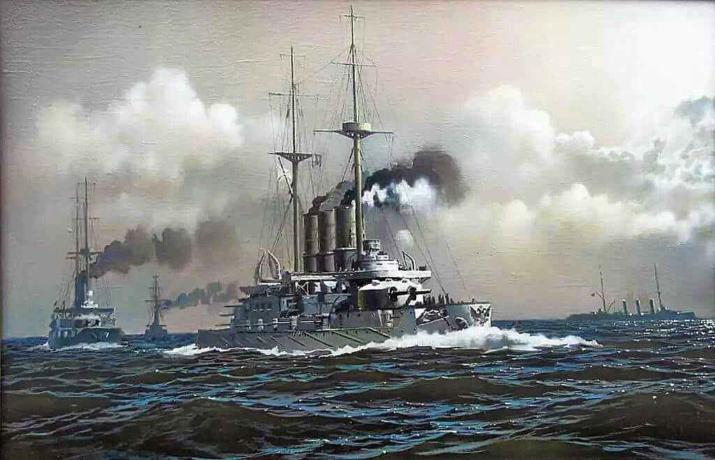 German pre-Dreadnought SMS Pommern. Pommern was sunk with no survivors at the Battle of Jutland in the early hours of 1st June 1916 by a torpedo fired from the British 12th Destroyer Flotilla