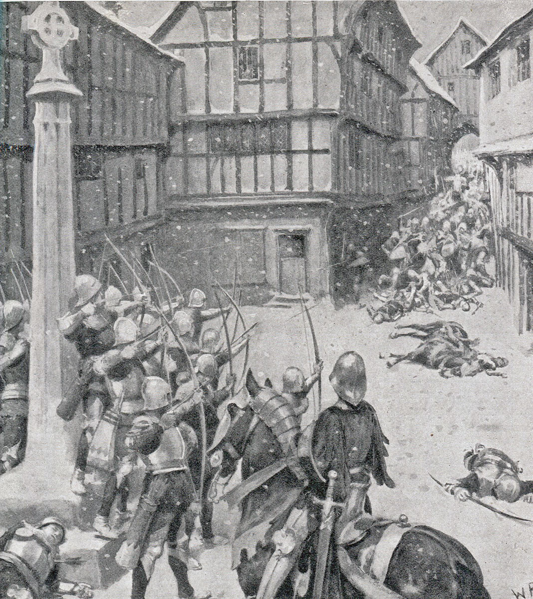 Yorkist archers fire on the attacking Lancastrians at the Second Battle of St Albans, fought on 17th February 1461 in the Wars of the Roses