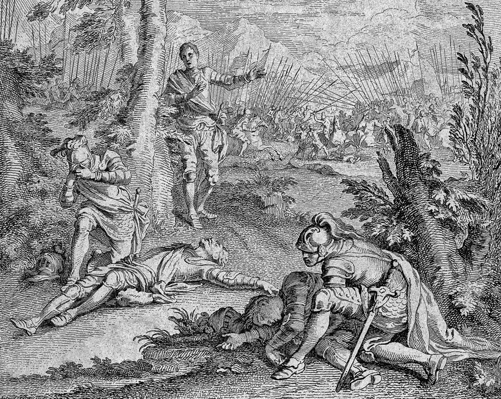 Allegory of the Horrors of Civil War: 'Son kills father, father kills son': Battle of Towton fought on 29th March 1461 in the Wars of the Roses