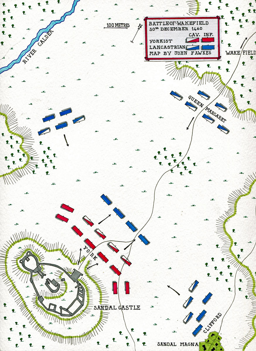 Map of the Battle of Wakefield on 30th December 1460 in the Wars of the Roses: map by John Fawkes