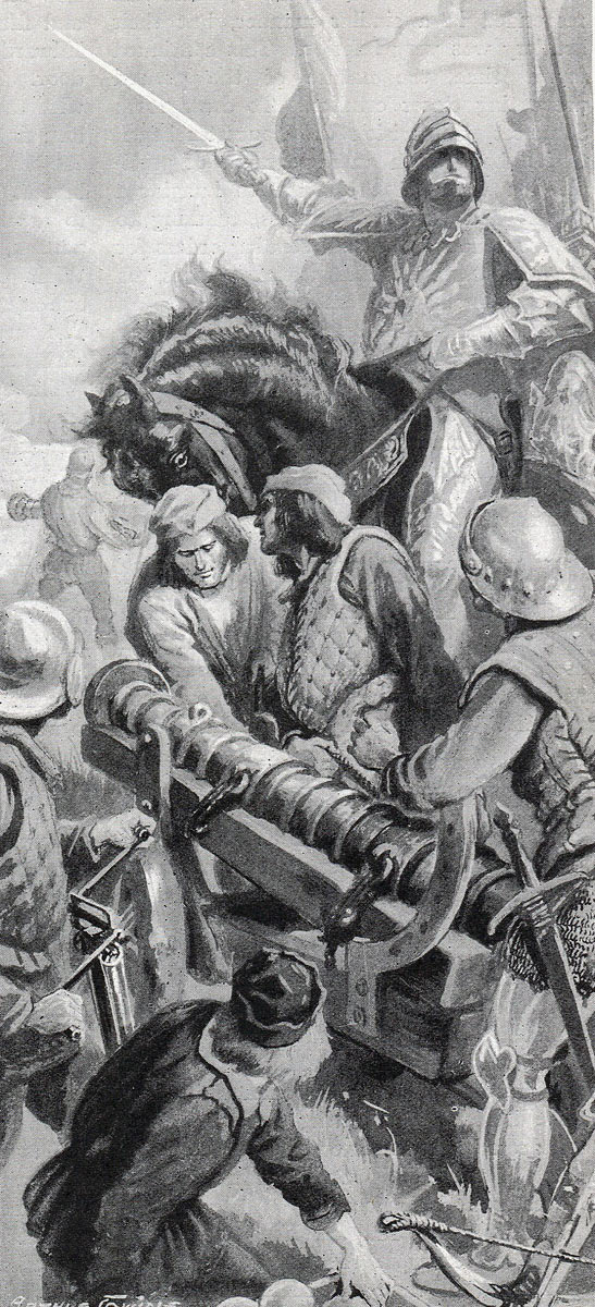 Yorkist cannon in action at the Battle of Tewkesbury on 4th May 1471 in the Wars of the Roses
