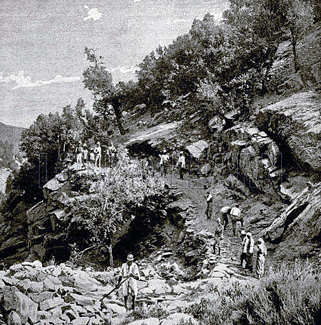 Bengal Sappers and Miners building roads in Chitral: Siege and Relief of Chitral, 3rd March to 20th April 1895 on the North-West Frontier of India