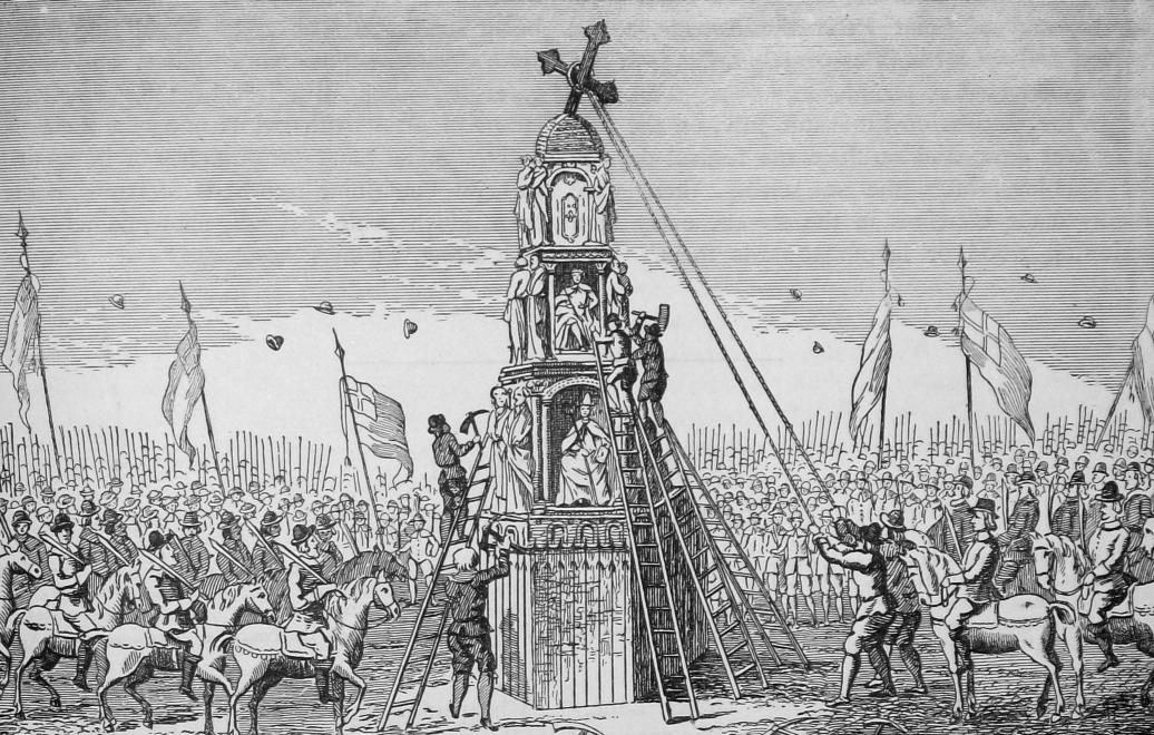 Demolition of the Eleanor Cross in Cheapside, London, in May 1640: Battle of Northampton on 10th July 1460 in the Wars of the Roses