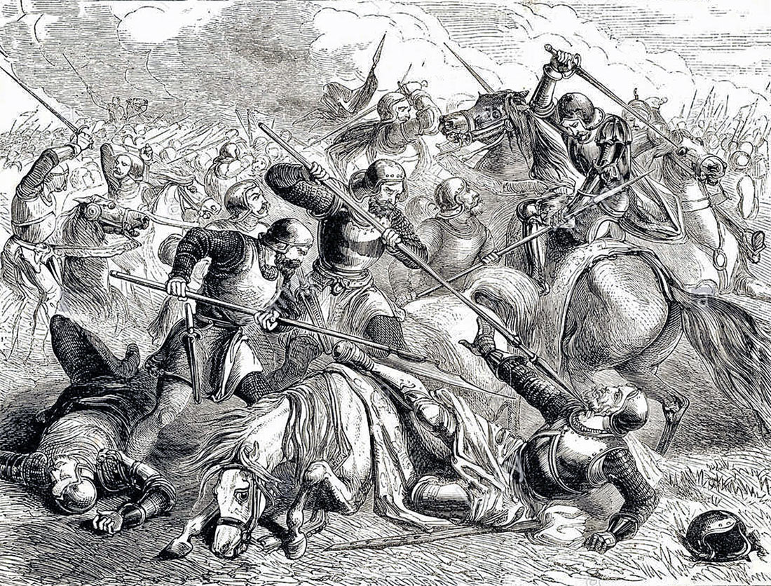 Death of the Earl of Shrewsbury at the Battle of Northampton on 10th July 1460 in the Wars of the Roses
