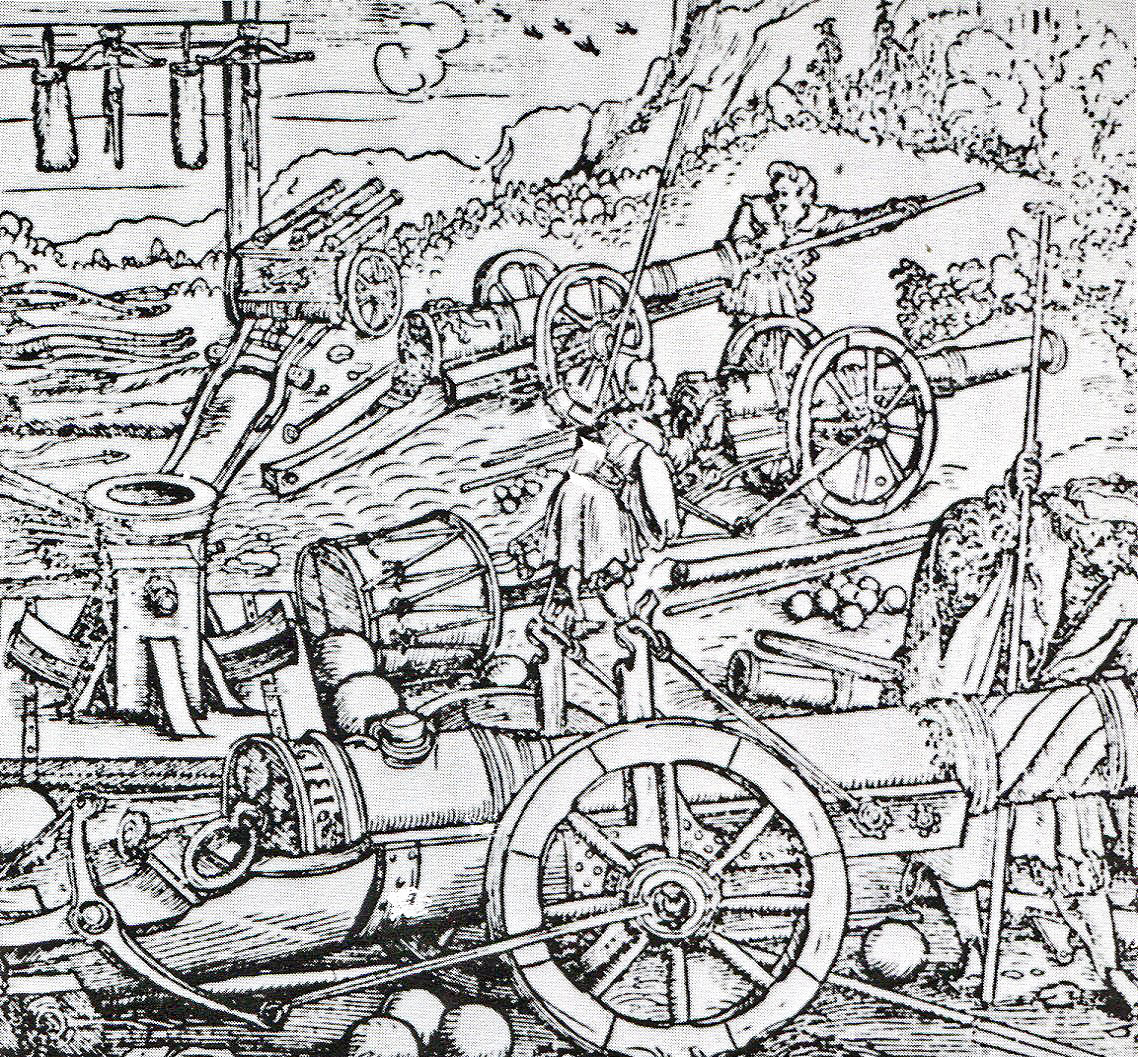 Cannon in action: Battle of Barnet on 14th April 1471 in the Wars of the Roses