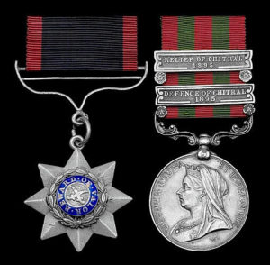 Indian Order of Merit and Indian General Service Medal with both clasps 'Defence of Chitral 1895' and 'Relief of Chitral 1895'. Medals of Sepoy Bagh Singh, 14th Sikhs: Siege and Relief of Chitral, 3rd March to 20th April 1895 on the North-West Frontier of India