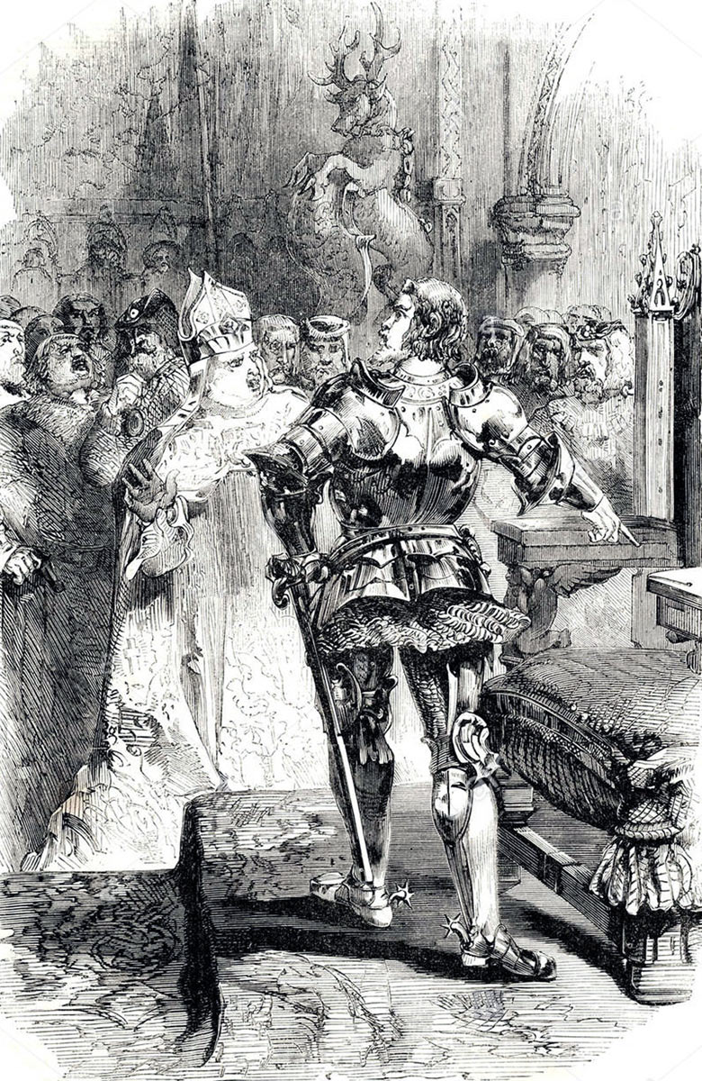 Richard, Duke of York, claiming the Throne of England in the Parliament held after the Battle of Northampton on 10th July 1460 in the Wars of the Roses