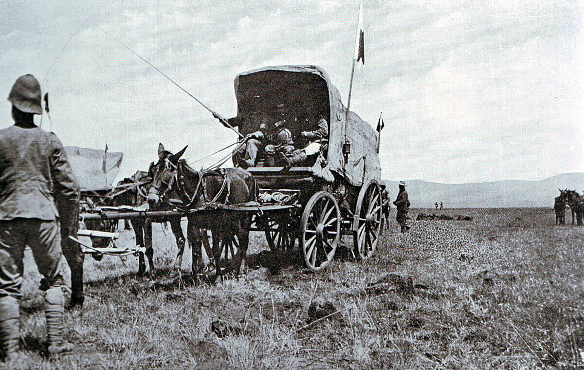 British ambulance collecting wounded soldiers after the Battle of Colenso on 15th December 1899