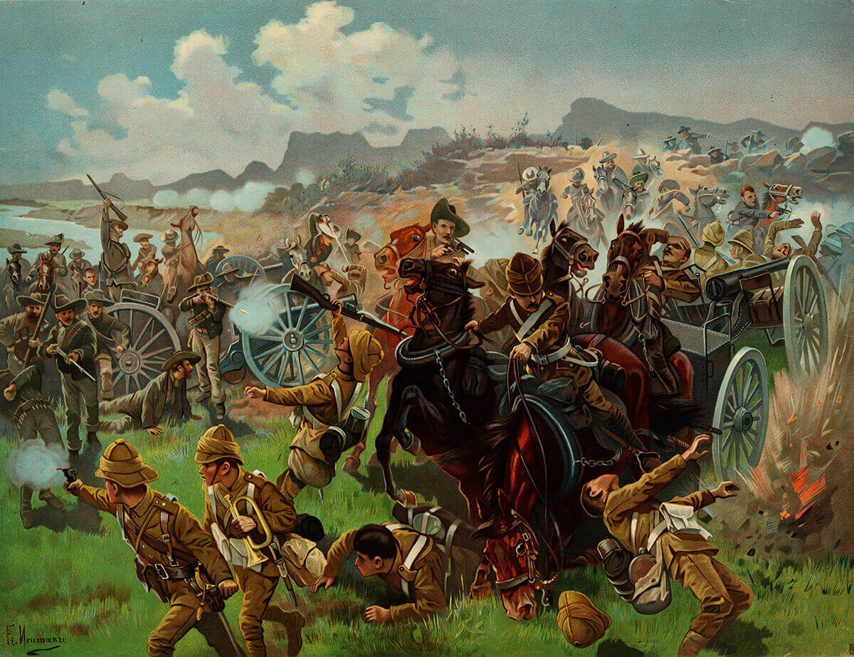 Boers capturing the British guns at the Battle of Colenso on 15th December 1899: in fact the guns were taken after the British abandoned them: picture by Fritz Neumann