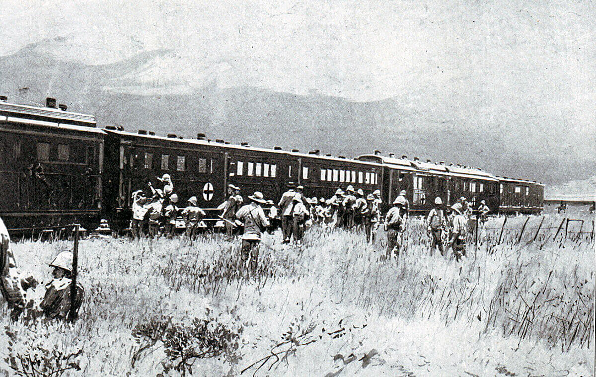 British field hospital train collecting wounded soldiers after the Battle of Colenso on 15th December 1899
