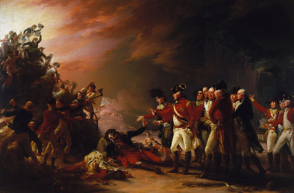 General Eliott watches the Sortie on 26th November 1781: the Great Siege of Gibraltar from 1779 to 1783 during the American Revolutionary War: picture by John Trumbull