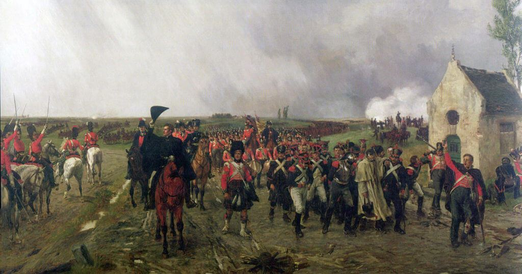 Duke of Wellington on the march from Quatre Bras to Waterloo: Battle of Waterloo on 18th June 1815; picture by Ernest Crofts