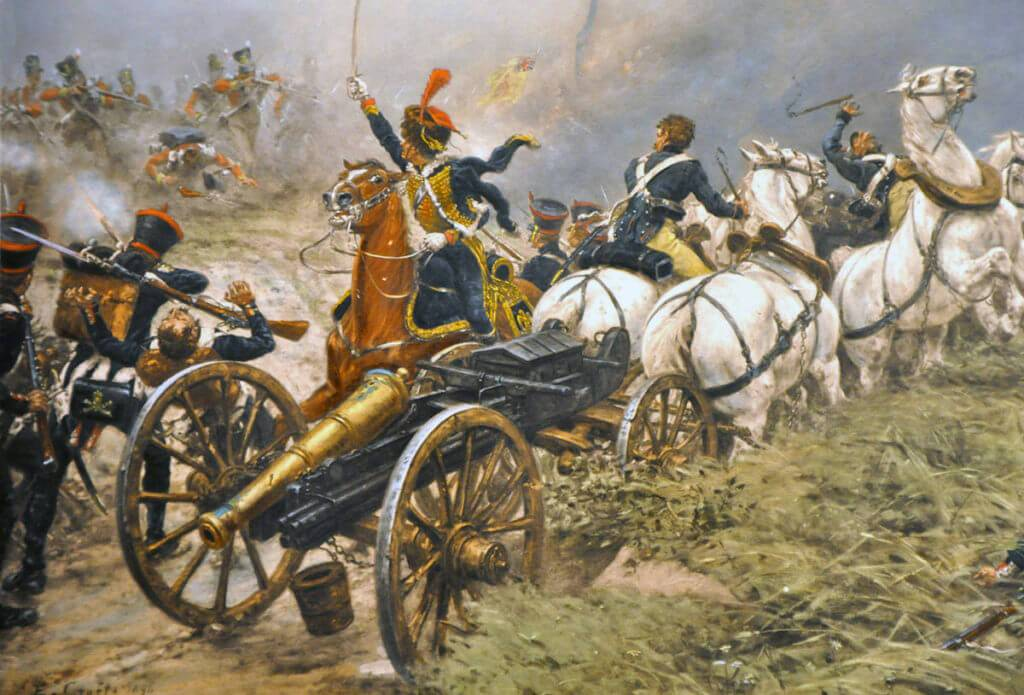 52nd Light Infantry capturing a French artillery battery at the Battle of Waterloo on 18th June 1815: picture by Ernest Crofts