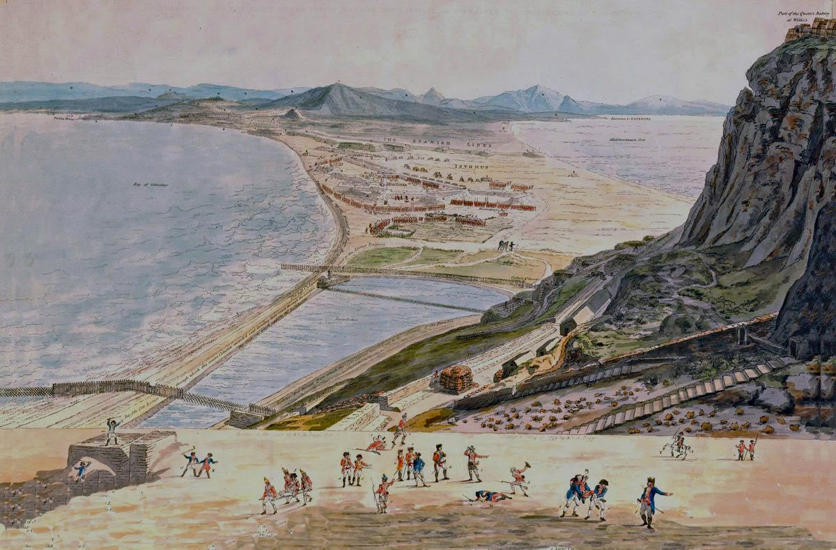 British Sortie on 26th November 1781: the Great Siege of Gibraltar from 1779 to 1783 during the American Revolutionary War: picture by A.C Poggi