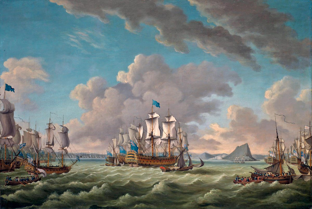 Admiral Lord Howe's Third Relief Fleet sails into Gibraltar on 11th October 1782: the Great Siege of Gibraltar from 1779 to 1783 during the American Revolutionary War: picture by Richard Paton