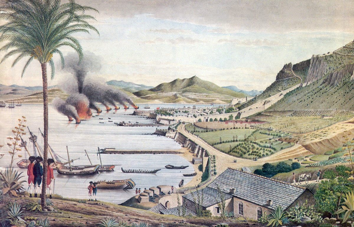 Spanish Battering Ships set on fire during the attack on Gibraltar, 13th September 1782: the Great Siege of Gibraltar from 1779 to 1783 during the American Revolutionary War: picture by Thomas Davis