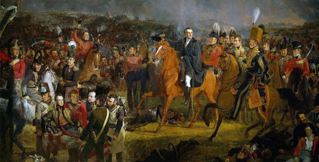 Duke of Wellington and his staff at the Battle of Waterloo on 18th June 1815 with the Prince of Orange wounded in the bottom left corner
