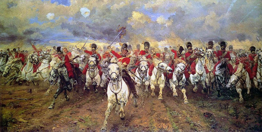 """Scotland for ever!"" Lady Butler's iconic picture of the Charge of the Royal Scots Greys, 2nd Dragoons, as part of the Union Brigade at the Battle of Waterloo on 18th June 1815"
