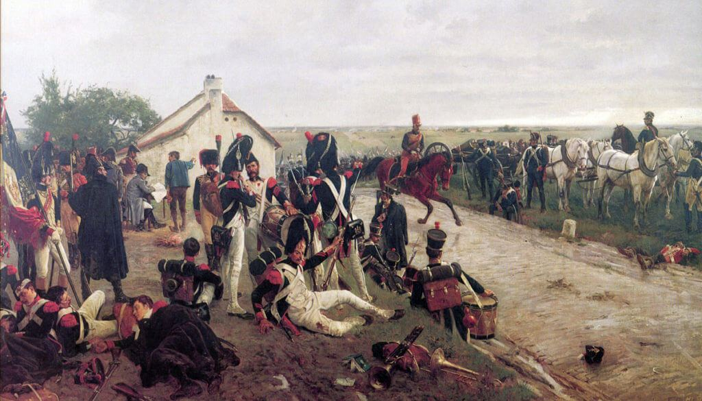 Morning of the Battle of Waterloo on 18th June 1815: the French await the Emperor Napoleon's orders: picture by Ernest Crofts