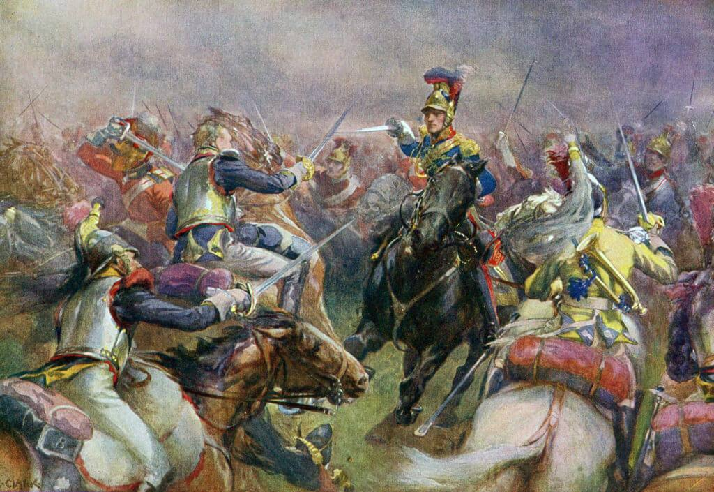 Royal Horse Guards (the Blues) in the charge at the Battle of Waterloo on 18th June 1815: picture by Christopher Clark