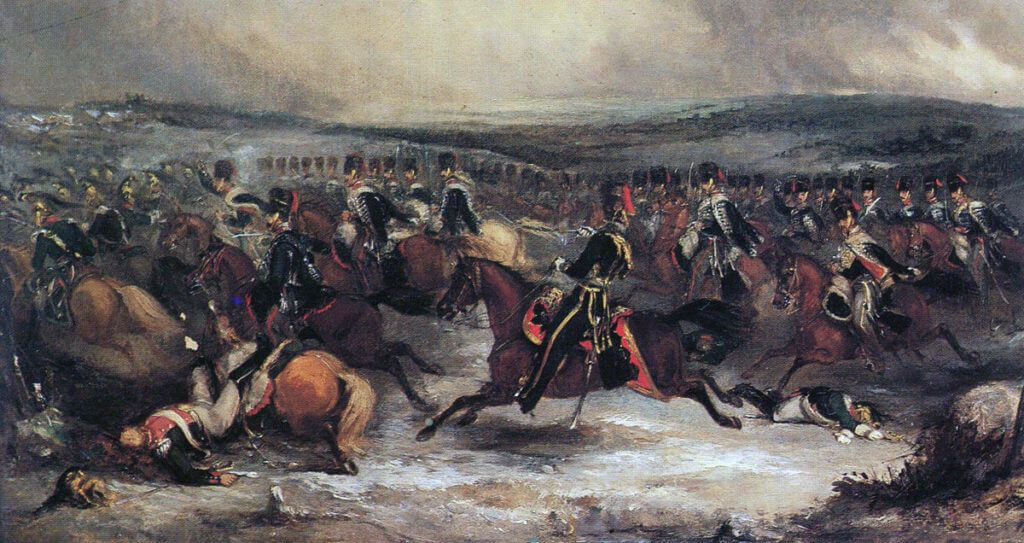 British 7th Hussars charging at the Battle of Waterloo on 18th June 1815: picture by Henry Martens