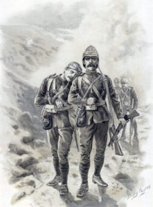 Survivors of the 66th at the Battle of Maiwand on 26th July 1880 in the Second Afghan War: picture by Harry Payne