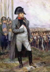 Emperor Napoleon reviews his Guard: Battle of Waterloo on 18th June 1815: picture by Édouard Detaille