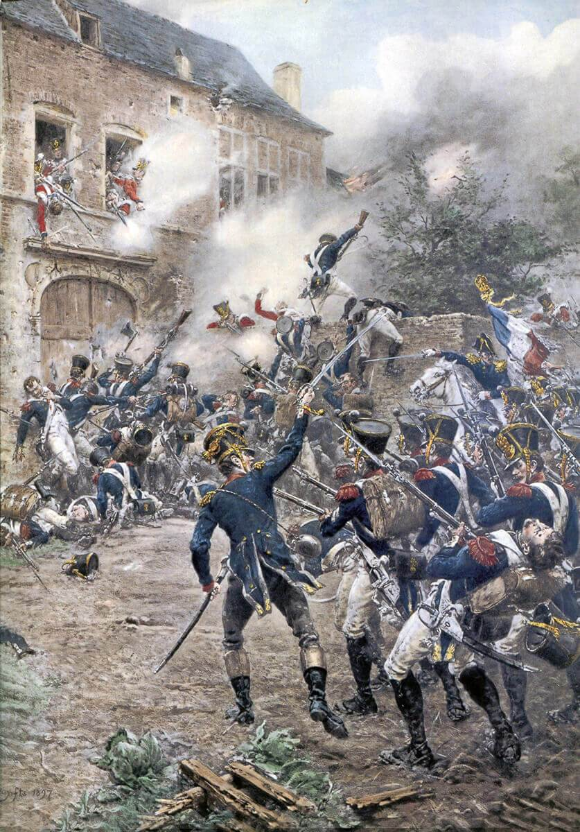 French attack on Hougoumont Château at the Battle of Waterloo on 18th June 1815: picture by Ernest Crofts