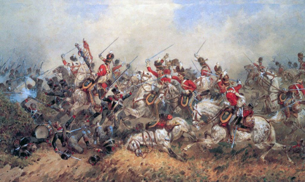 Charge of the Royal Scots Greys at the Battle of Waterloo on 18th June 1815: picture by Orlando Norie