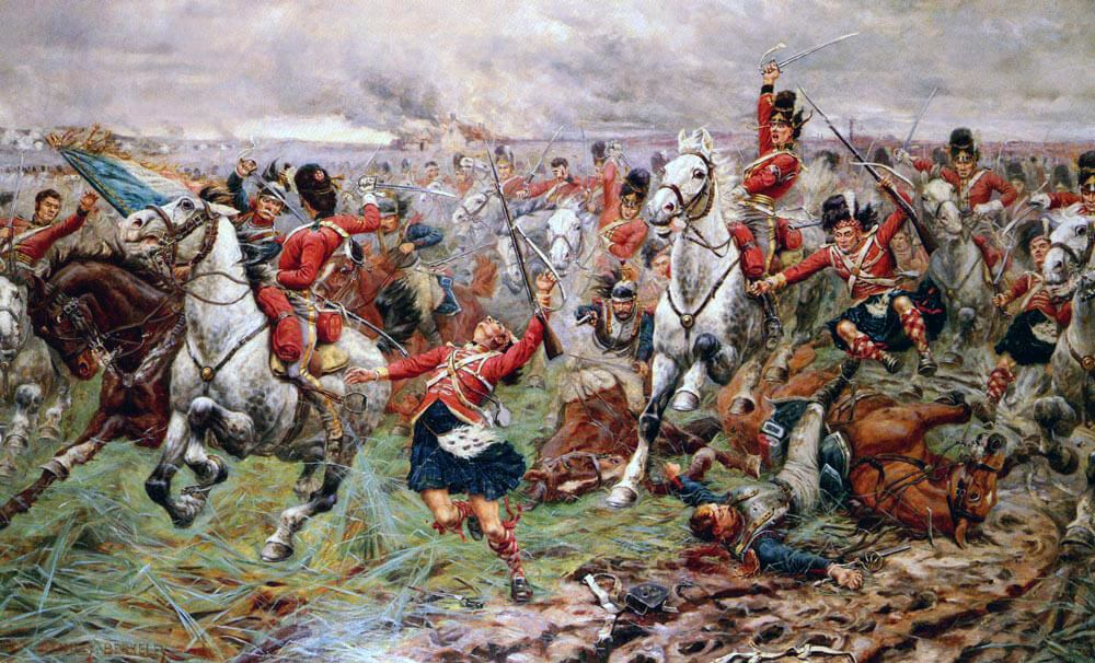 Royal Scots Greys and 92nd Gordon Highlanders at the Battle of Waterloo on 18th June 1815: picture by Stanley Berkeley