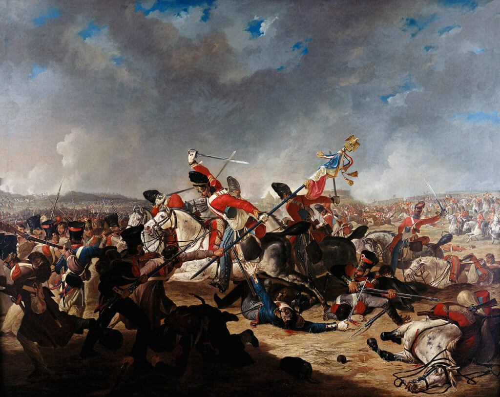 Sergeant Ewart of the Royal Scots Greys capturing the Standard and Eagle of the French 45th of the Line at the Battle of Waterloo on 18th June 1815: picture by Denis Dighton