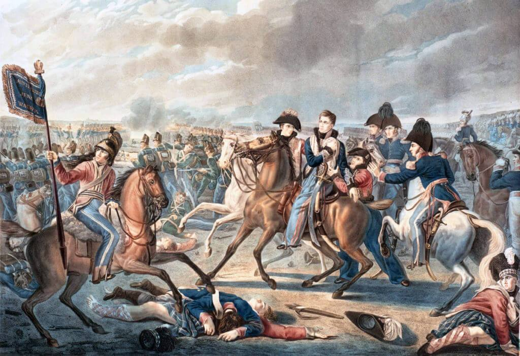 Prince William of Orange is wounded in the shoulder at the Battle of Waterloo on 18th June 1815