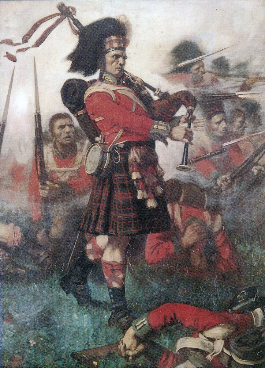 Piper Kenneth McKay of the 79th Highlanders playing around the regiments square at the Battle of Waterloo on 18th June 1815; picture by Lockhart Bogle