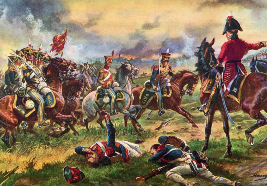 Lord Hill ordering the 13th Light Dragoons to attack at the Battle of Waterloo on 18th June 1815: picture by Harry Payne