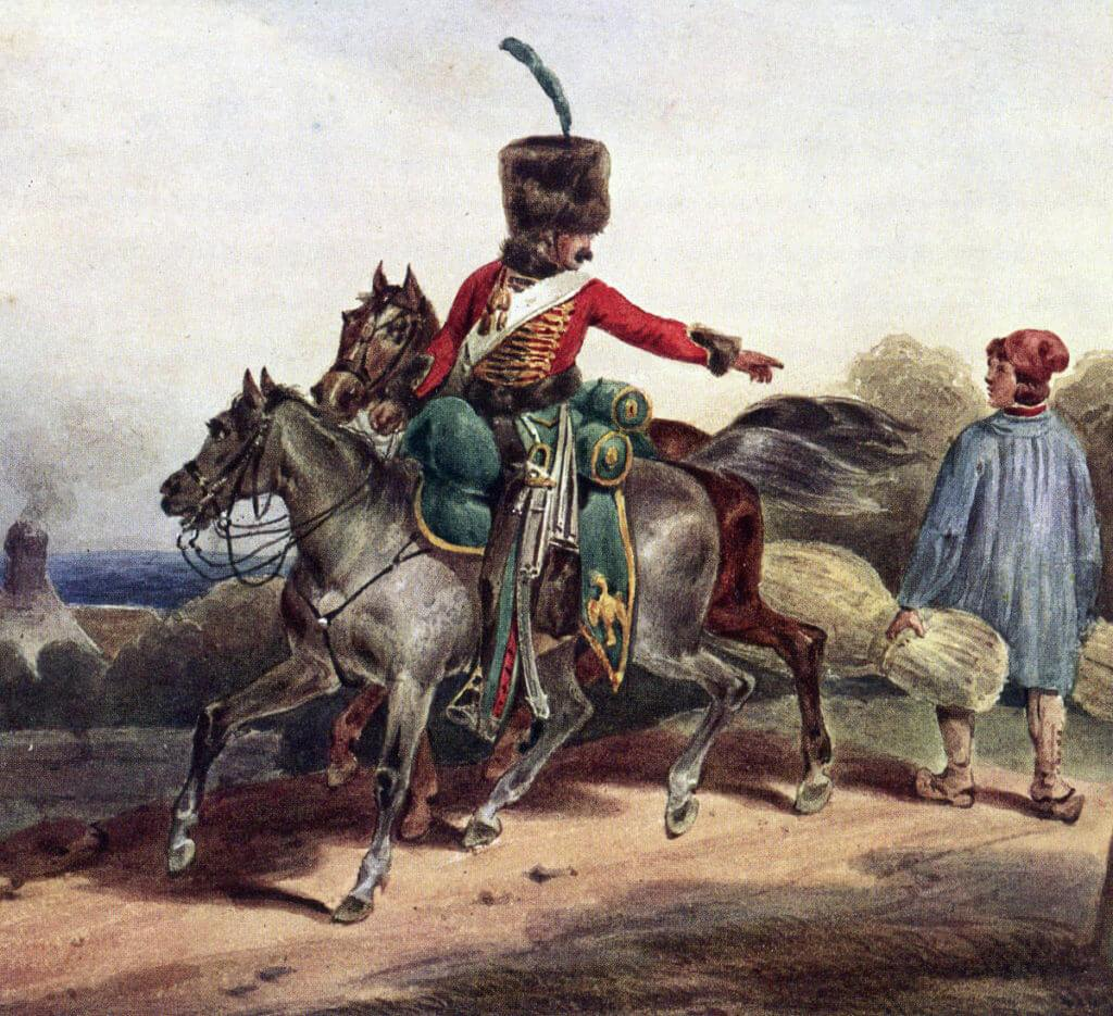 Chasseur à Cheval de la Garde: Battle of Waterloo on 18th June 1815: picture by Hippolyte Lecompte