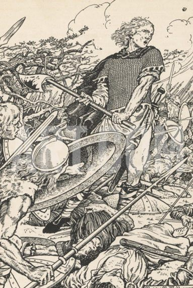 Alfred the Great at the Battle of Ashdown 8th January 871 AD in the Danish Wars