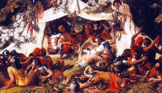 King Alfred in the Viking camp before the Battle of Ashdown disguised as a minstrel: the artist has given the scene a middle eastern flavour and dressed the Vikings as Roman soldiers.