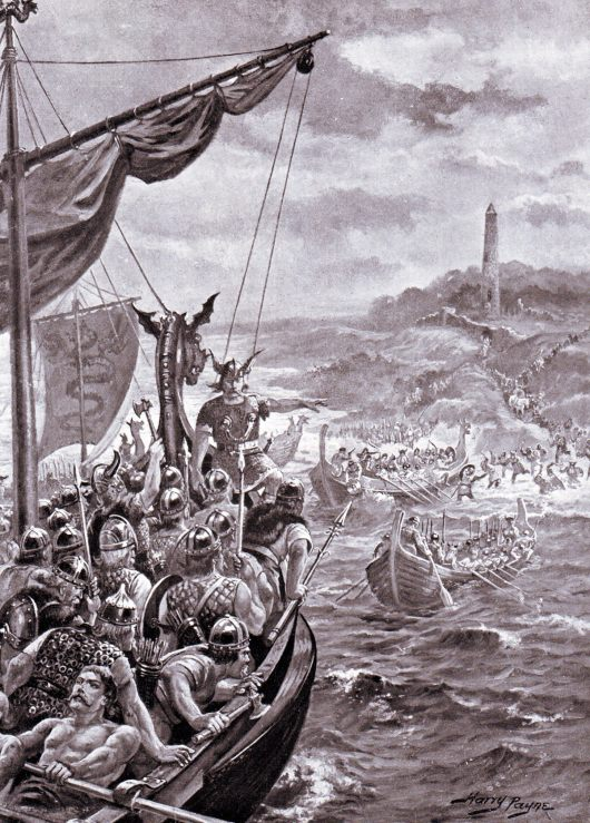 Vikings landing in Britain: Battle of Ashdown 8th January 871 AD in the Danish Wars