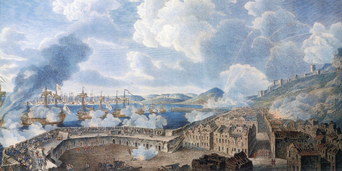 Defence of the King's Bastion against the bombardment from the Spanish Battering Ships on 13th September 1782: the Great Siege of Gibraltar from 1779 to 1783 during the American Revolutionary War