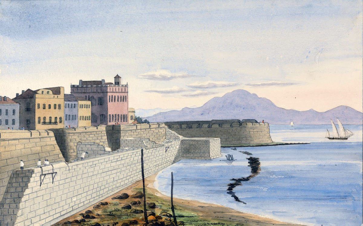 King's Bastion Gibraltar under construction, with Dejbal Musa on the Moroccan African coast in the distance: the Great Siege of Gibraltar from 1779 to 1783 during the American Revolutionary War