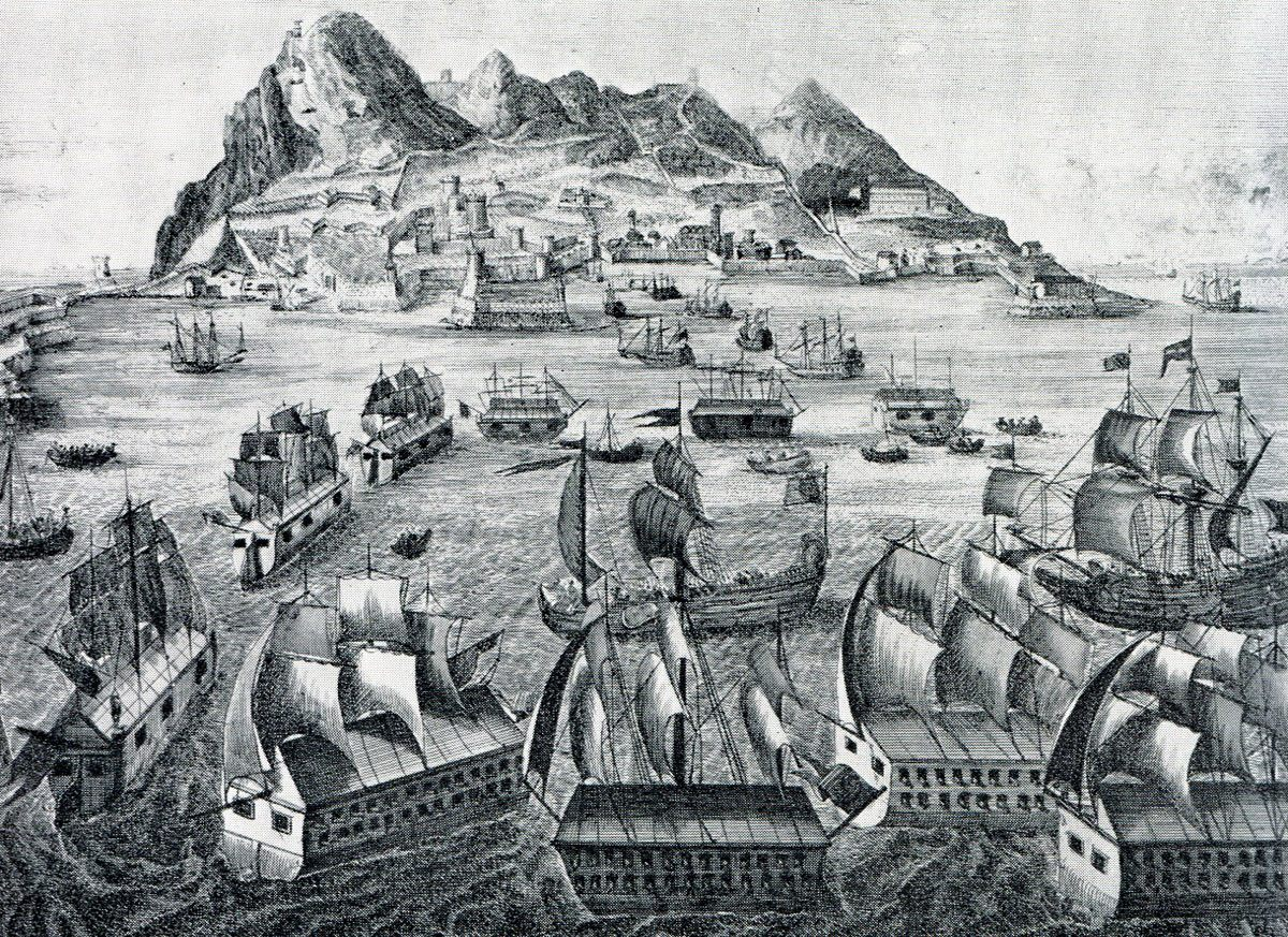 Spanish Battering Ships moving into position on 13th September 1782: the Great Siege of Gibraltar from 1779 to 1783 during the American Revolutionary War: engraving by Bergmuller