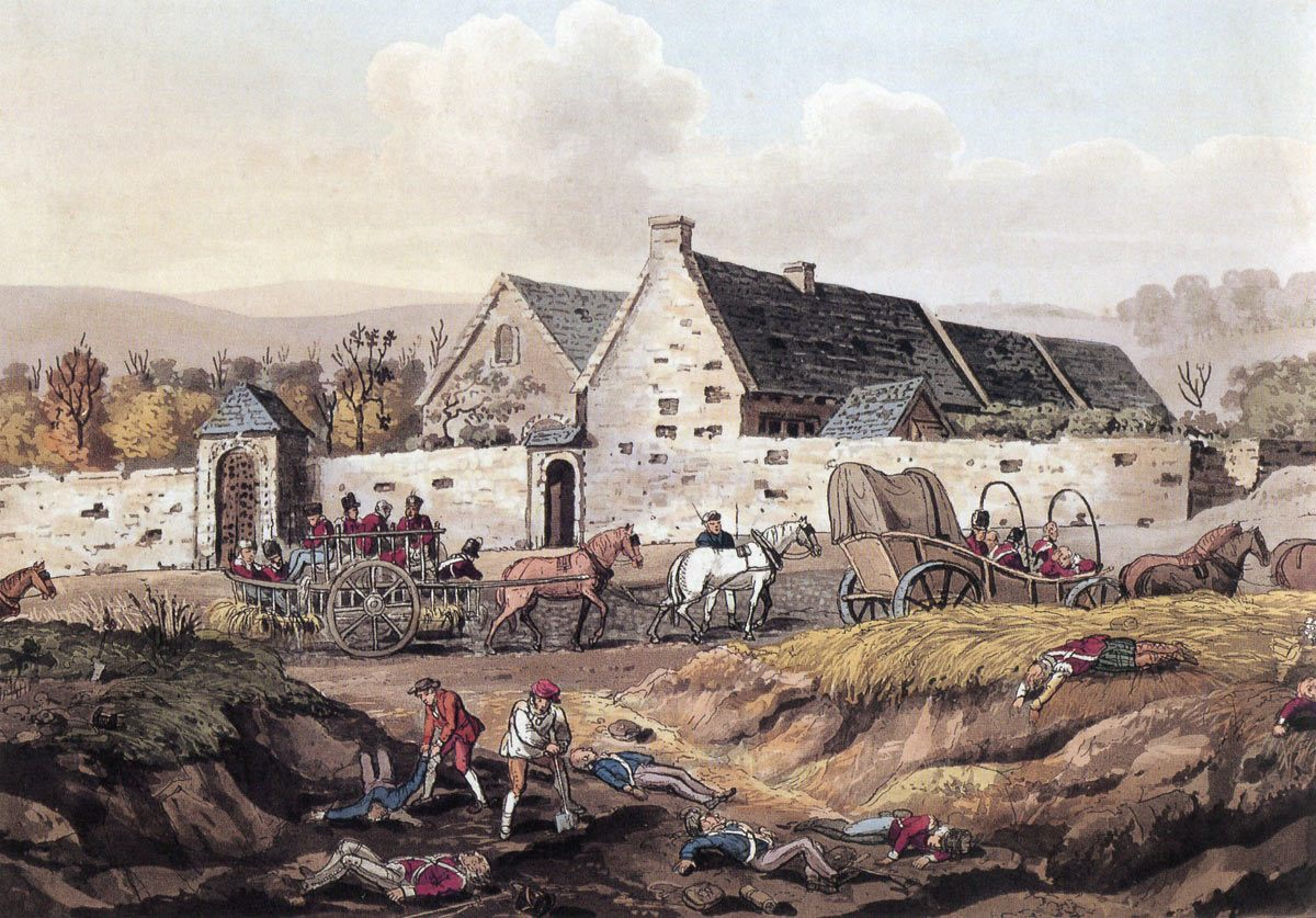 La Haye Sainte after the battle: defended by the King's German Legion at the Battle of Waterloo on 18th June 1815
